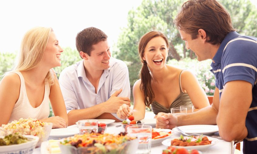 Friends eating lunch istock